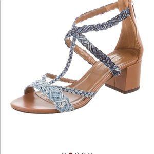 Aquazurra caramel leather and denim sandals